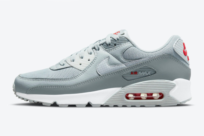 Nike Air Max 90 Grey Red 2021 New Arrival DM9102-001